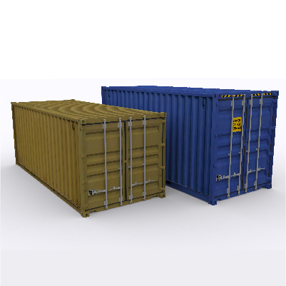 Shipping containers in blue and brown arranged side by side